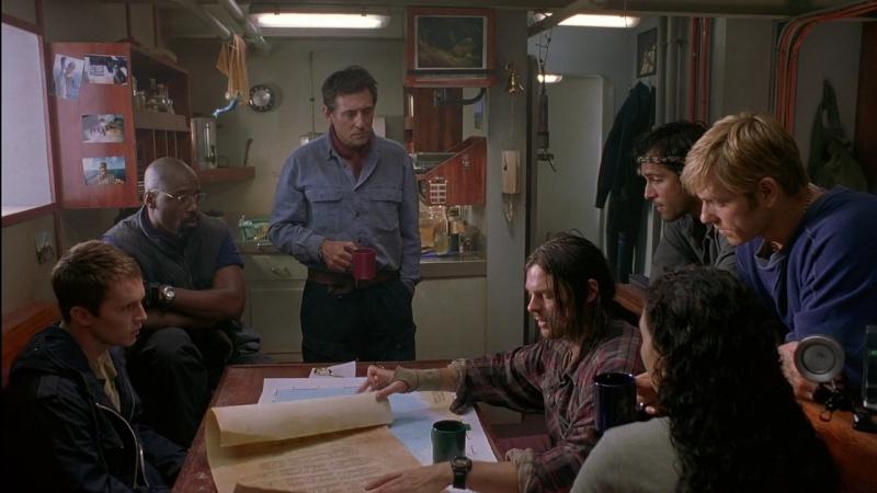 Gabriel Byrne, Julianna Margulies, Desmond Harrington, Alex Dimitriades, Ron Eldard, Karl Urban, and Isaiah Washington in Ghost Ship (2002)