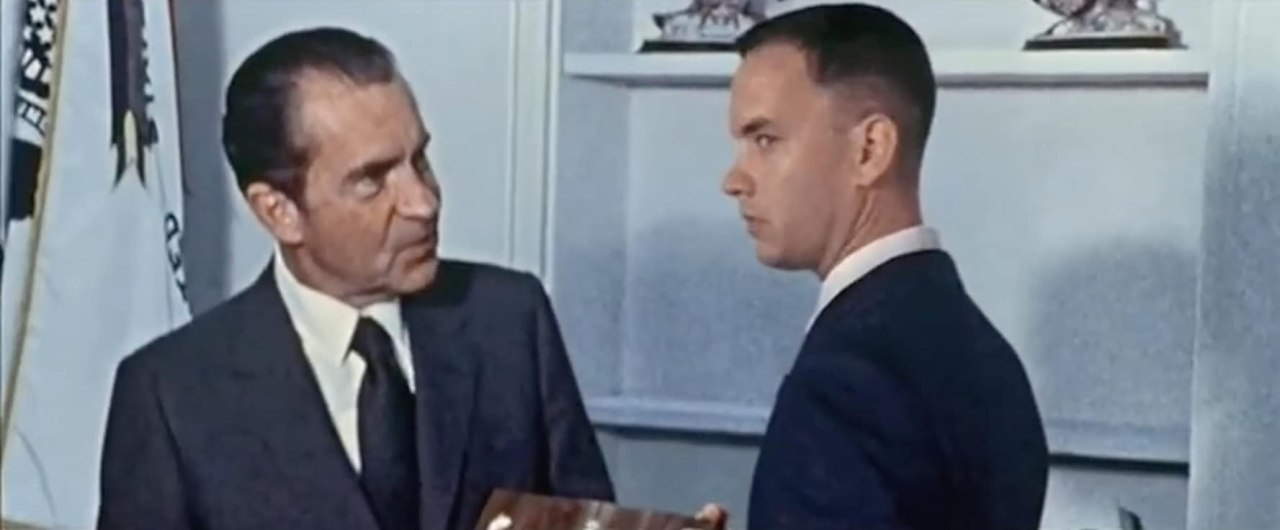 Tom Hanks and Richard Nixon in Forrest Gump (1994)