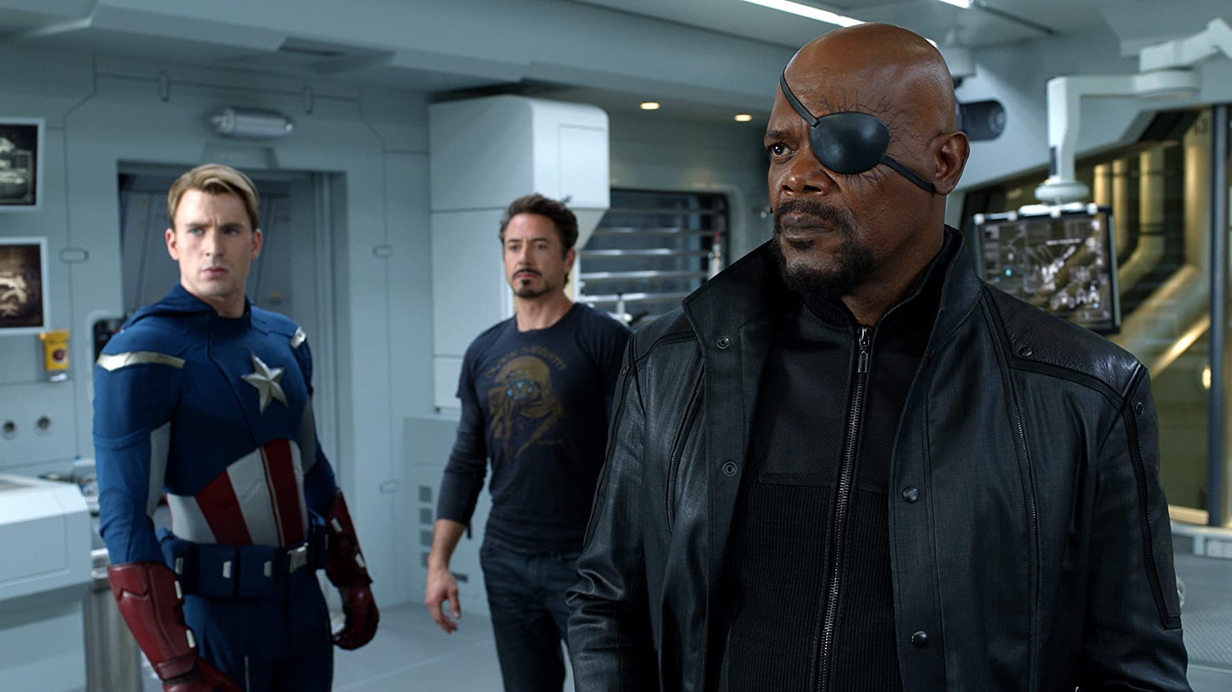 Samuel L. Jackson, Robert Downey Jr., and Chris Evans / The Avengers / Marvel & Walt Disney Studios. © 2019. All rights reserved.