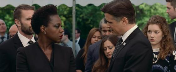 Viola Davis, Garret Dillahunt, Colin Farrell, and Molly Kunz in Widows (2018)