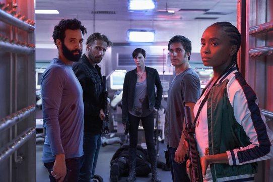 Charlize Theron, Matthias Schoenaerts, Luca Marinelli, Marwan Kenzari, and KiKi Layne in The Old Guard (2020)
