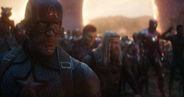 Don Cheadle, Robert Downey Jr., Bradley Cooper, Chris Evans, Mark Ruffalo, Chris Hemsworth, and Chadwick Boseman in Avengers: Endgame (2019)
