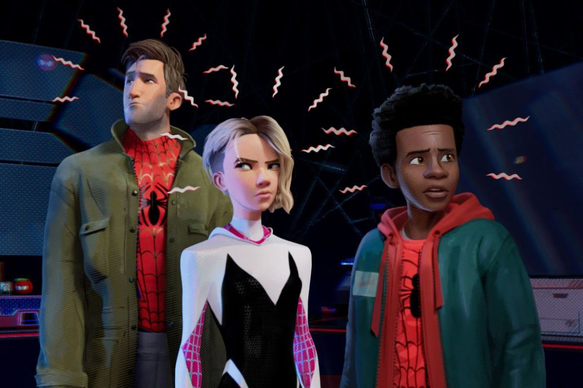 Jake Johnson, Hailee Steinfeld, and Shameik Moore in Spider-Man: Into the Spider-Verse (2018)