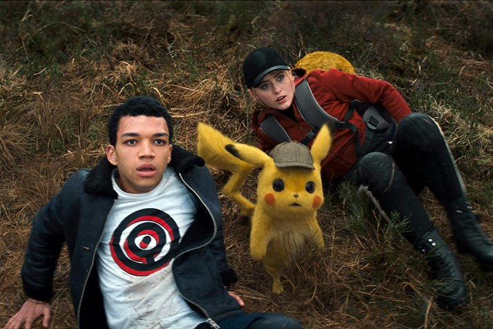 Ryan Reynolds, Kathryn Newton, and Justice Smith in Pokémon Detective Pikachu (2019)