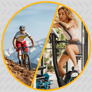 Man riding an outdoor bike and woman on an indoor bike