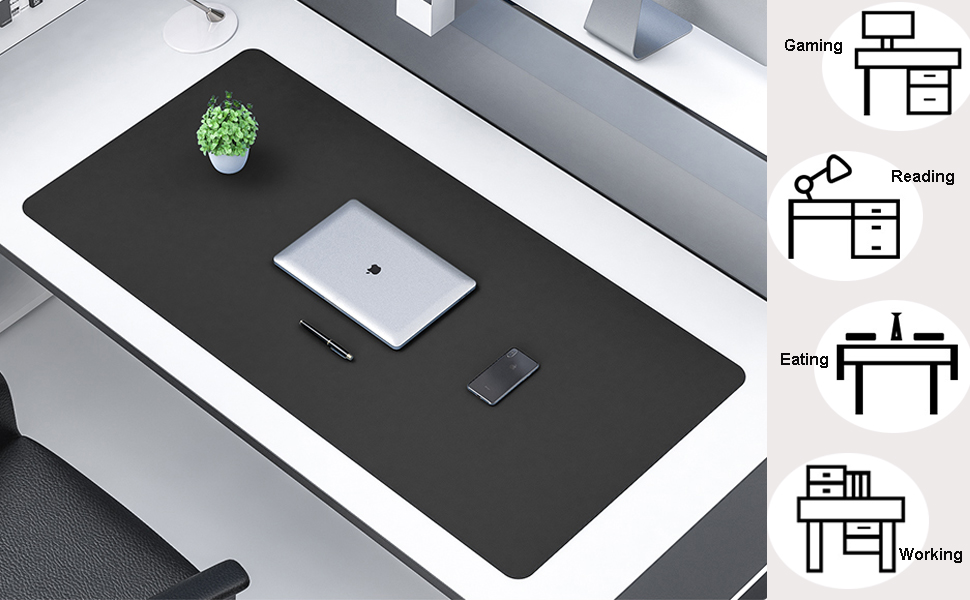 KINGFOM Pu Leather Desk Mat Large Laptop Keyboard Mouse Pad