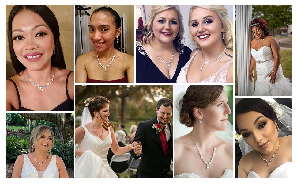 EleQueen Women's CZ Teardrop Flower Bridal V-Necklace Sets Tennis Bracelet Dangle Earrings