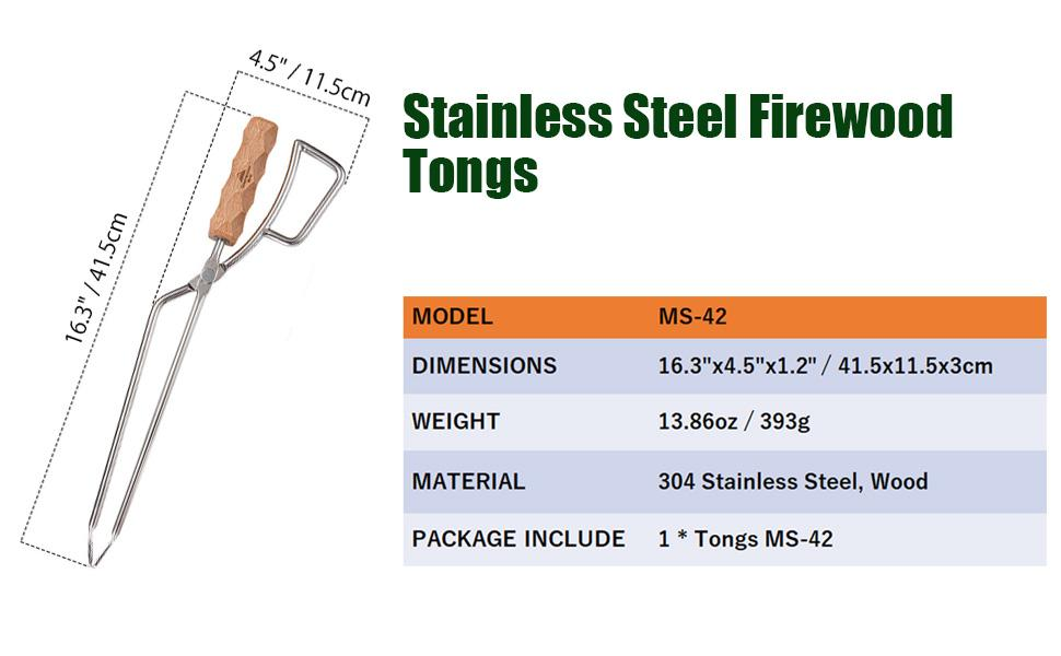 stainless steel firewood tongs