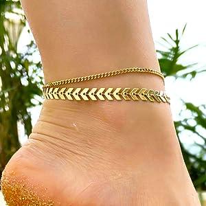 Fishbone anklet