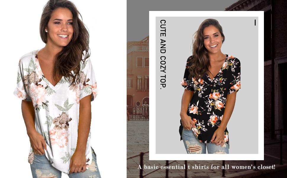 womens summer tops v neck tshirts