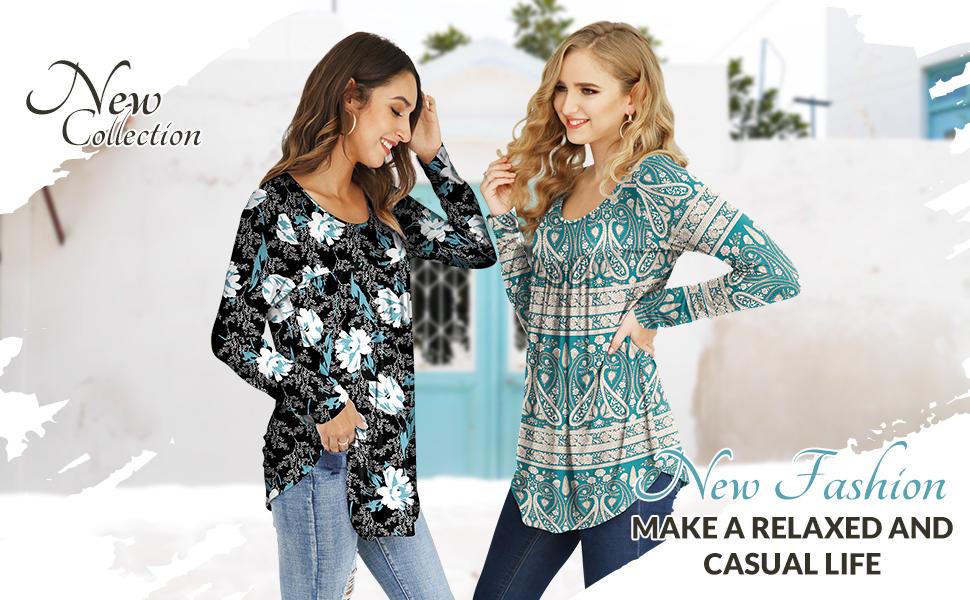 women's casual tunic tops