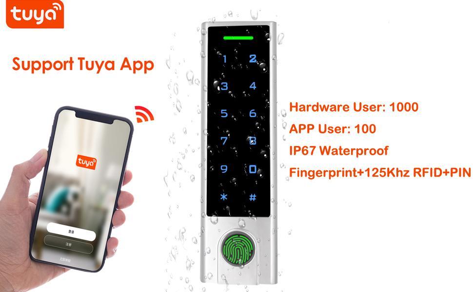 Zinc-Alloy tuya APP access controler 1000 User  Waterproof