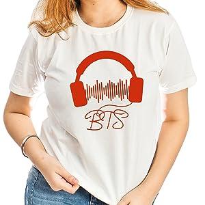 Cotton T-Shirt for Women BTS/K-POP Print