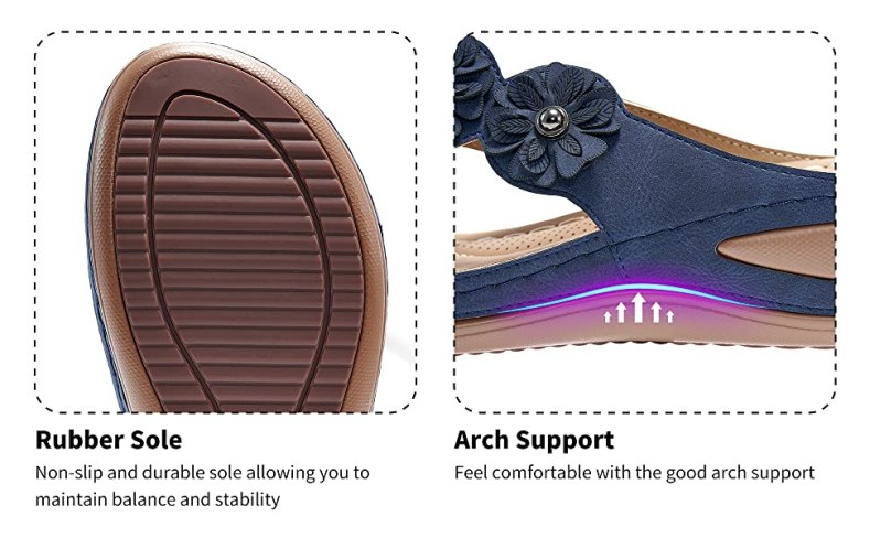 bohemian flip flops sandals Leather single layer wide strap with arch rubber sandals fall spring