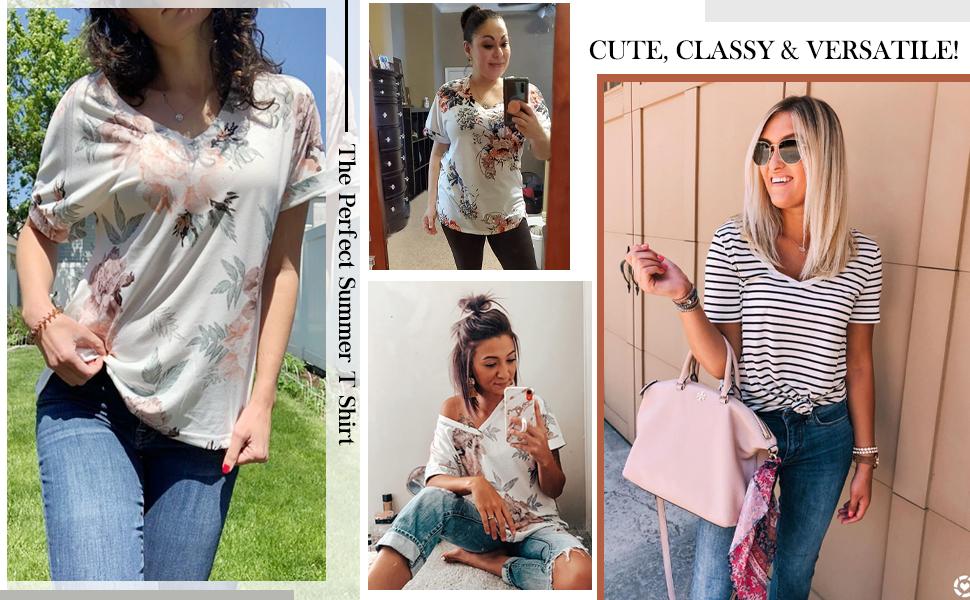 womens tops summer tshirts v neck