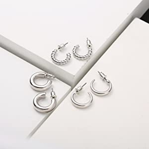 thick gold hoop earring for women