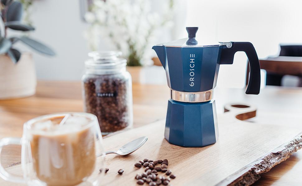 GROSCHE milano blue header image stovetop espresso maker