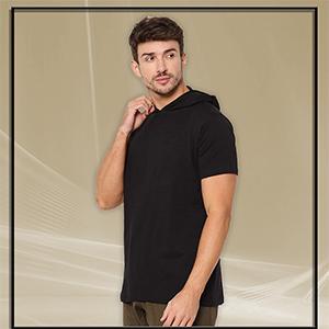 XOXO PARISMen's Regular Fit Solid Half Sleeve Hooded T-Shirt SPN-FOR1