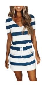 Women Striped Drawstring Dress