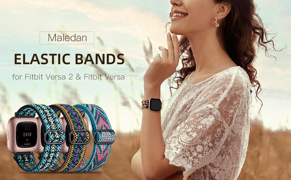 Maledan Adjustable Elastic Watch Band Compatible for Fitbit Versa Smart Watch