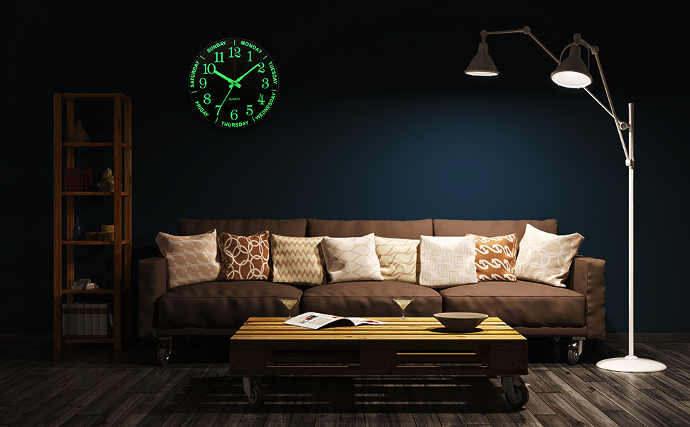 Large Digital Atomic Wooden Wall Clocks Battery Operated
