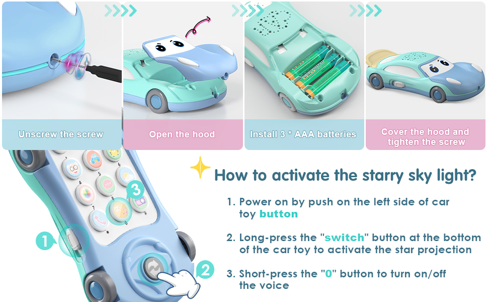 baby toy car and toy phone