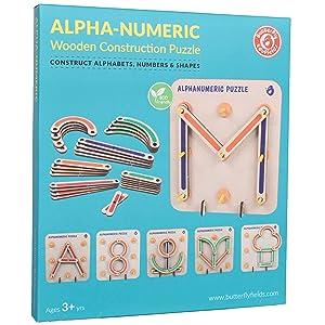 box | wooden alphanumeric puzzle