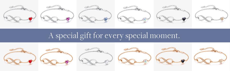 Infinity heart bracelets for women