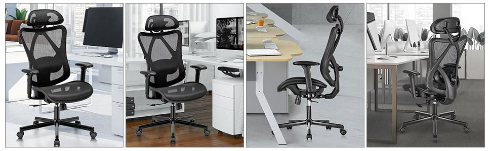 office chair with adjustable headrest, abck support and armrest