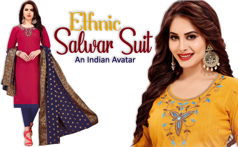 embroidered dress material salwar kameez suit top bottom dupatta set