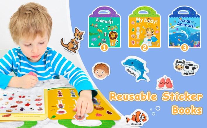 Fun Reusable Sticker Books- Educational Toys