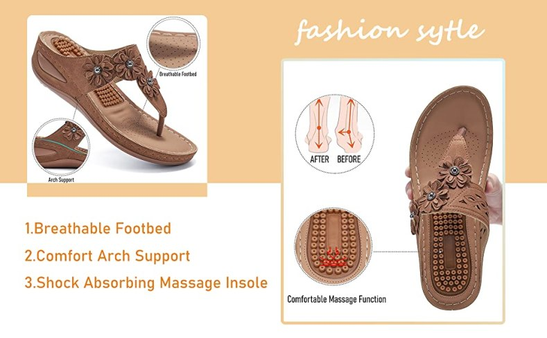 Womens Wedge Flip Flops Sandals with Arch Support Summer Comfortable Platform Bohemia Flats
