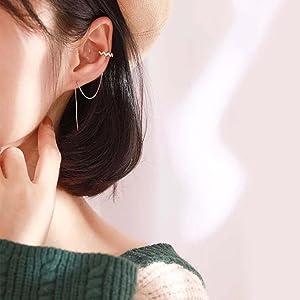 sterling silver cuff earrings chain