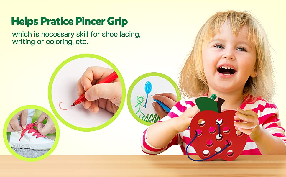 travel plane Montessori motor focus hand-eye 3 4 5 6 fruit apple lace string