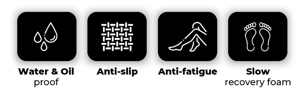 Water & Oil Proof , Anti-slip, Anti-fatigue