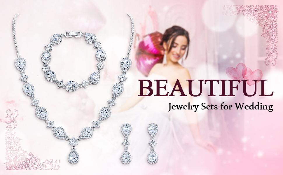 EleQueen Wedding Bridal Jewelry Set Teardrop Flower Necklace Earrings Bracelet Jewellery