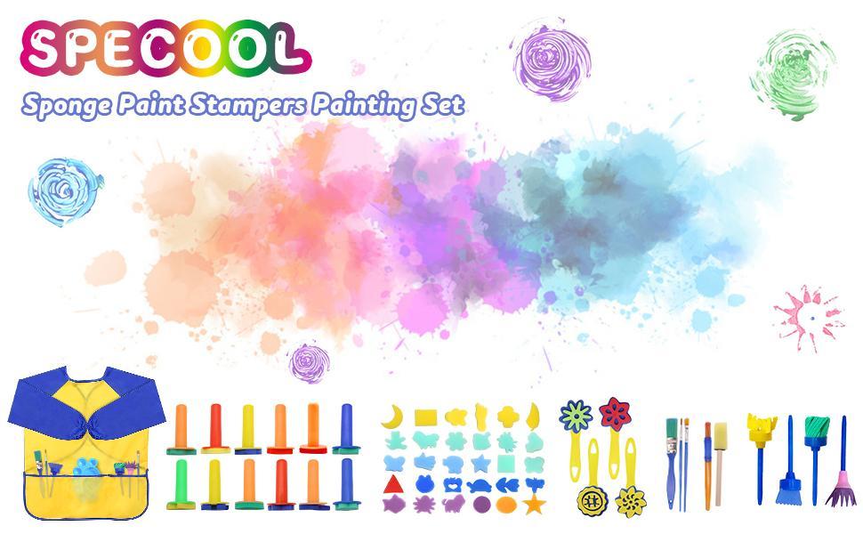 56 Pezzi Pennelli Spugna per Pittura Set per Bambini, Pennello da Disegno per Bambini