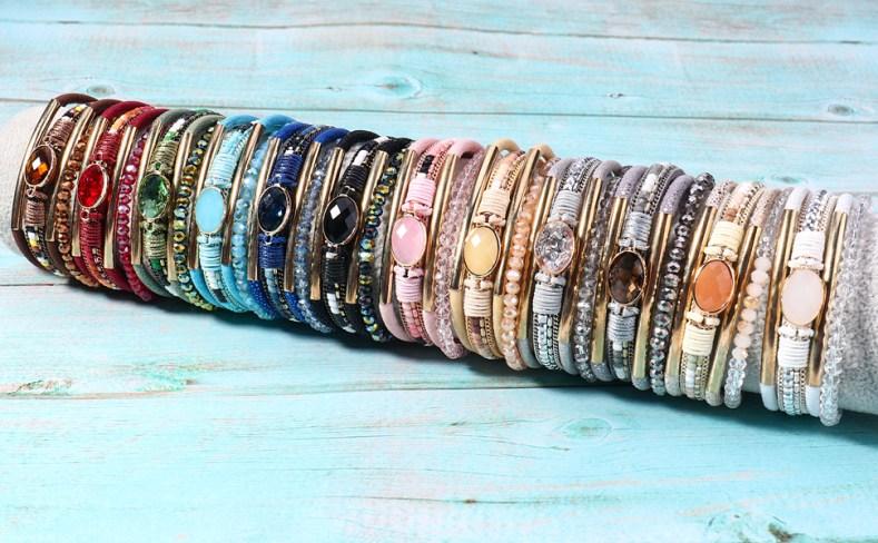 crystal leather bracelets