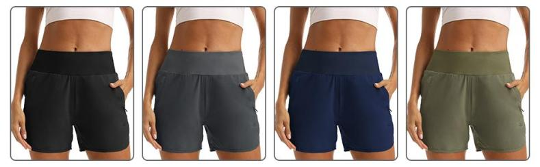 Womens 4 Inches Running Shorts with Zipper Pockets Liner Black Athletic Shorts Quick Dry Workout Gym