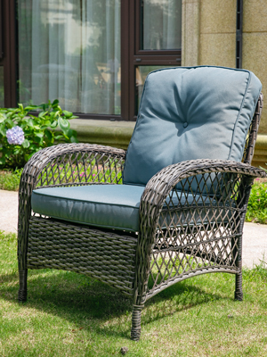 Patio Rattan Conversation Set 4pcs Outdoor Wicker Furniture Tempered Glass Coffee Table and Chair