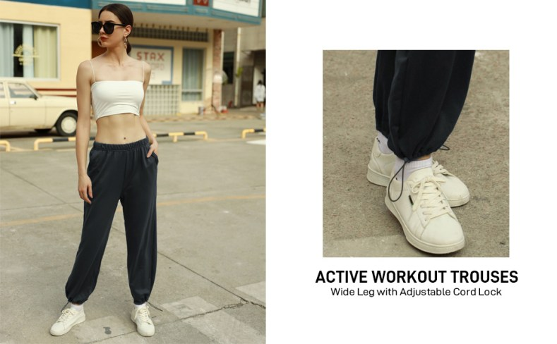 Womens Loose Baggy Sweatpants Casual Sports Active Pants with Cord Lock at Hem