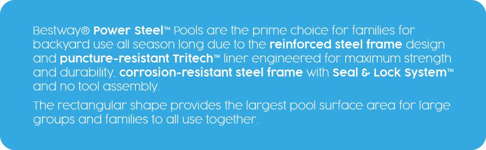 Bestway Pools, Swimming Pool, Above Ground Pools, Power Steel Pool, Garden Pool, Rectangular Pool