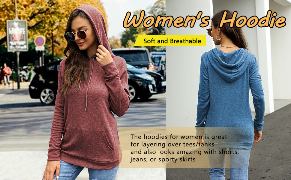 Womens hoodie is comfy and long enough to wear with leggings