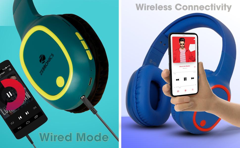 zebronics wireless headphone with wired mode
