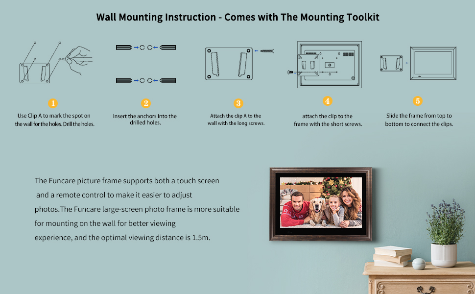 Digital photo frame with wall mounting function