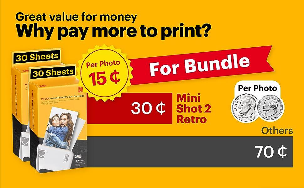 Kodak Mini Shot 2 Retro polaroid camera instant photo printer for iphone holiday gift bundle