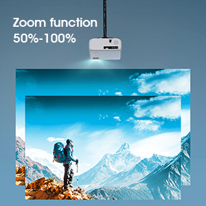 Outdoor projector with zoom function