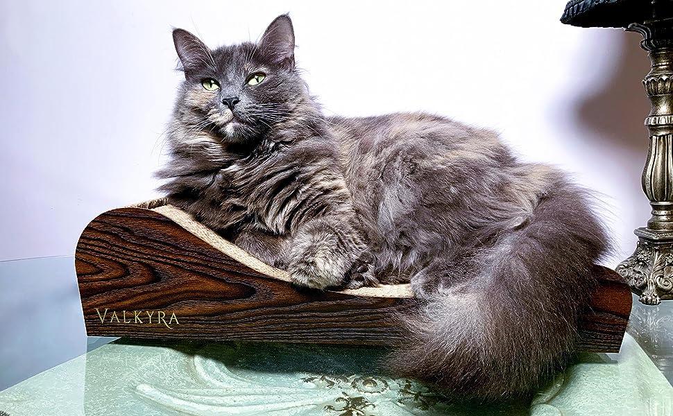 Rascador, desing, madera, cartón, muebles para gatos, valkyra