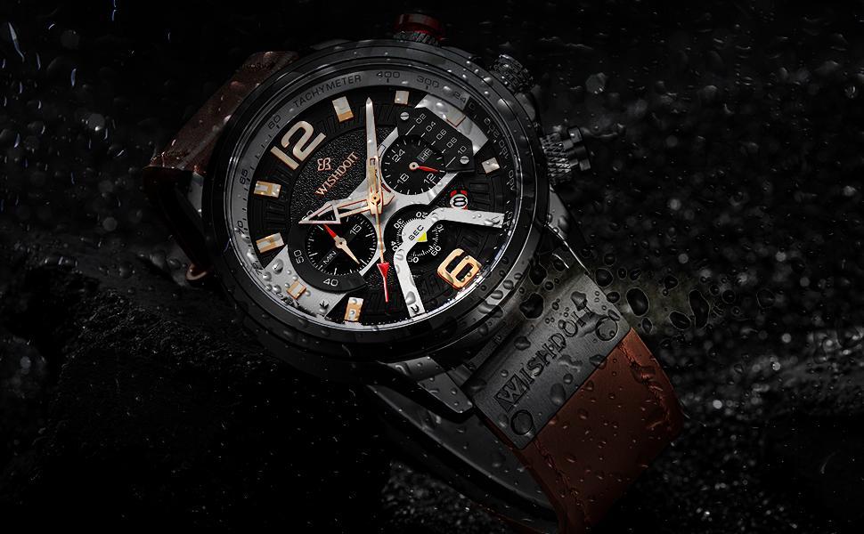 Chronograph Men's Watch Waterproof Black Leather Strap