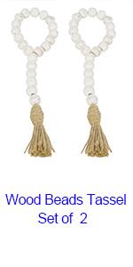 Whitewashed wood beads tassel set of2